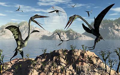 Flock Of Bird Digital Art - A Flock Of Large Quetzalcoatlus by Mark Stevenson