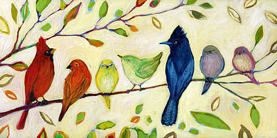 Birds Painting Rights Managed Images - A Flock of Many Colors Royalty-Free Image by Jennifer Lommers