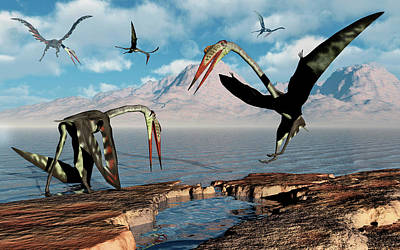 Photograph - A Flock Of Quetzalcoatlus During Earths by Mark Stevenson