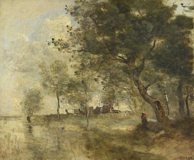 A Flood Art Print by Jean-Baptiste-Camille Corot