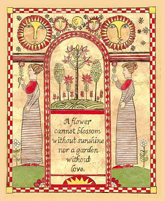 Fraktur Painting - A Flower Cannot Blossom by Joan Shaver