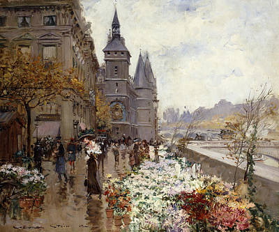 Stalls Painting - A Flower Market Along The Seine by Georges Stein