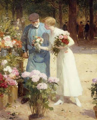 Gilbert Painting - A Flower Market by Victor Gabriel Gilbert
