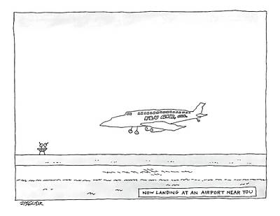 Plane Drawing - A Flu Air. Inc. Plane Is Landing. Beneath Reads by Jack Ziegler