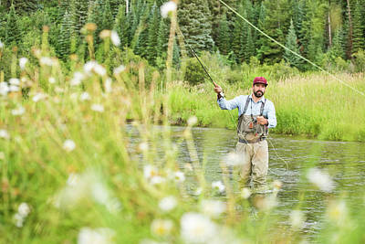 Colorado Fly Fishing River Wall Art - Photograph - A Fly Fisherman Fly Fishing by Rob Hammer