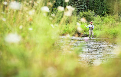 Colorado Fly Fishing River Wall Art - Photograph - A Fly Fisherman On The Yampa River by Rob Hammer