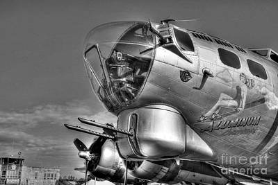 Photograph - A Flying Fortress Bw by Mel Steinhauer