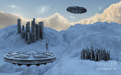 A Flying Saucer Returns To Its Home Art Print by Mark Stevenson