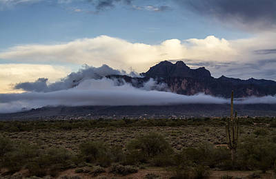 A Foggy Evening At The Superstitions Art Print by Saija  Lehtonen