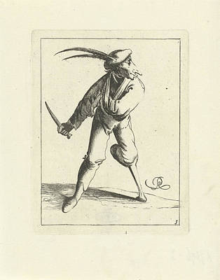 Hand Crafted Drawing - A Fool With A Wooden Leg And Arm In A Sling Has A Knife by Pieter Jansz. Quast