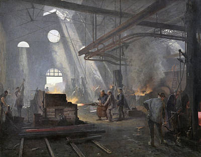 Rays Painting - A Forge, 1893  by Fernand Cormon