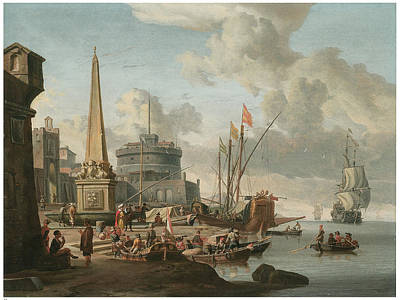 Obelisk Painting - A Fortified Mediterranean Port With An Obelisk by Abraham Storck
