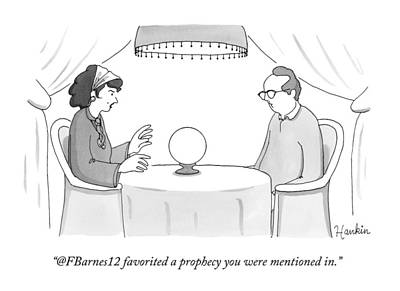 Social Media Drawing - A Fortune-teller Looks Into A Crystal Ball by Charlie Hankin