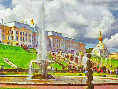 Digital Art - A Fountain At Peterhof by Digital Photographic Arts