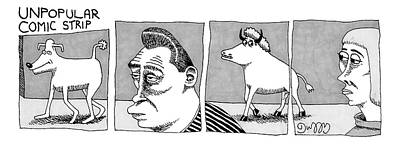 Bull Drawing - A Four-paneled Comic Strip With A  Person Facing by J.C.  Duffy