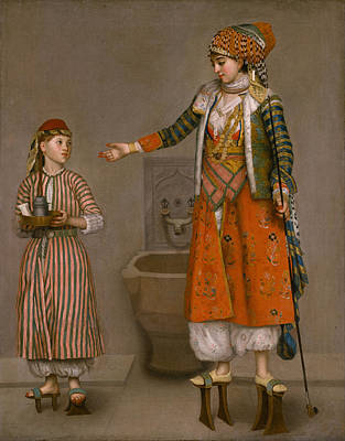 Wooden Shoes Painting - A Frankish Woman And Her Servant by Jean Etienne Liotard