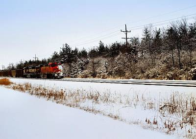 A Freight Train On A Snowy Day  Art Print by Tom Druin