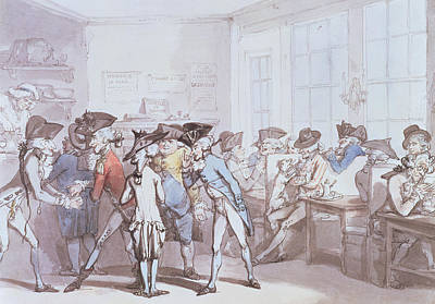 Tea Rooms Drawing - A French Coffee House by Thomas Rowlandson