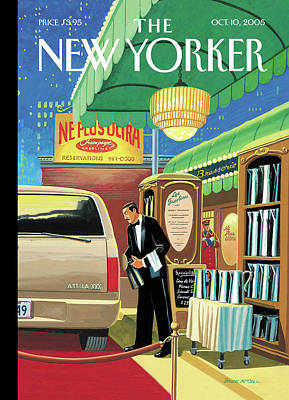 Gasoline Wall Art - Painting - A French Waiter Outside A Brasserie Fills A Suv by Bruce McCall