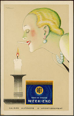 Candle Lit Drawing - A Frenchwoman Lights Her Week-end by Mary Evans Picture Library