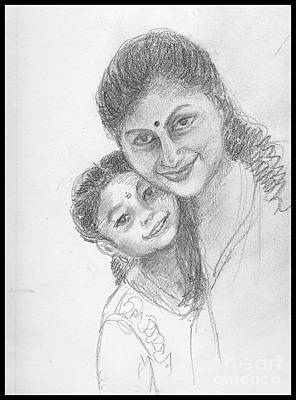 Drawing - A Friend And Her Daughter by Asha Sudhaker Shenoy