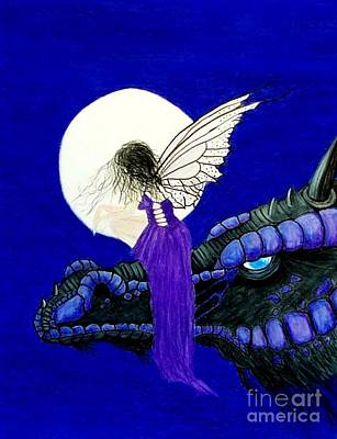 Drawing - A Friend To Share The Moonlight by Peggy Miller