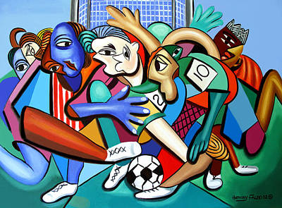 Sports Paintings - A Friendly Game Of Soccer by Anthony Falbo