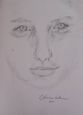 Drawing - A Full Face by Esther Newman-Cohen