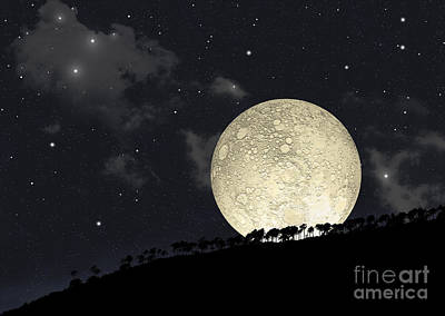 Crater Digital Art - A Full Moon Rising Behind A Row by Marc Ward