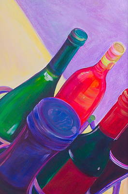 Wine-bottle Painting - A Full Rack by Debi Starr