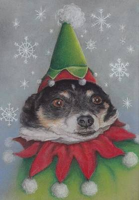 A Furry Christmas Elf Art Print by Pamela Humbargar