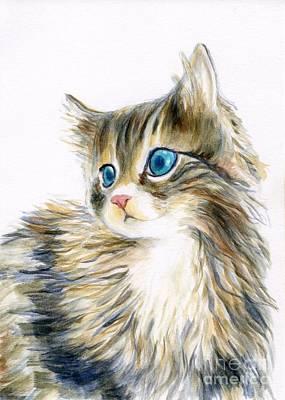 Cat Painting - A Furry Kitten by Jingfen Hwu