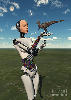 Surrealism Royalty-Free and Rights-Managed Images - A Futuristic Android Holding A Baby by Mark Stevenson