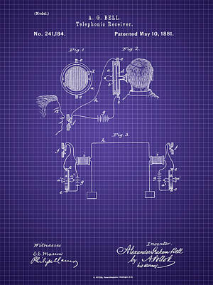 Photograph - A. G. Bell Telephone Receiver Patent by Barry Jones