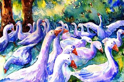 Gosling Painting - A Gaggle Of Geese by Trudi Doyle