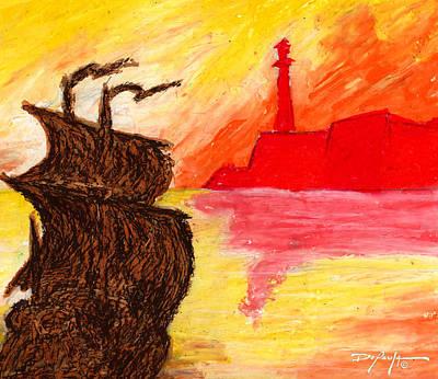 Beach Landscape Mixed Media - A Galleon Returns To Havana by William Depaula