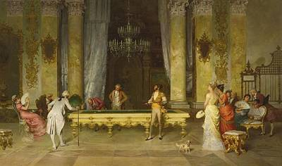 Billiards Painting - A Game Of Billiards by Celestial Images
