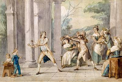 Playing Drawing - A Game Of Blind Mans Buff, C.late C18th by George Morland