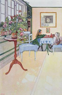 Chair Drawing - A Game Of Chess by Carl Larsson