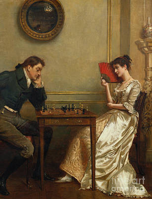 Flirtation Painting - A Game Of Chess by George Goodwin Kilburne