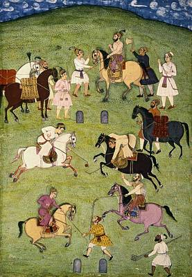 Miniatures Painting - A Game Of Polo, From The Large Clive by Indian School