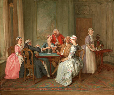 Tea Service Painting - A Game Of Quadrille, Hubert-françois Gravelot by Litz Collection