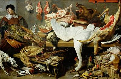 Frans Snyders Painting - A Game Stall by Frans Snyders