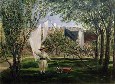 C19th Photograph - A Garden Scene, With A Boy, The Artists Son George Dunlop Leslie, 1840 by Charles Robert Leslie