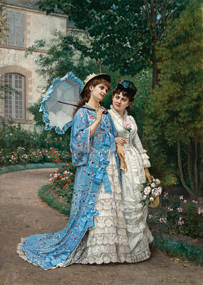 Painting - A Garden Stroll by Auguste Toulmouche