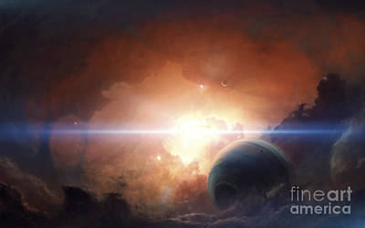Digital Art - A Gas Giant Partly Hidden In A Nebula by Tobias Roetsch