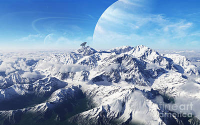 Mountains Digital Art - A Gas Giant Rises In The Distance by Brian Christensen