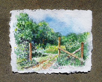 Impressionistic Landscape Painting - A Gate To The Ranch Briones Park California by Irina Sztukowski