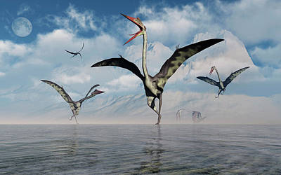 Of Birds Photograph - A Gathering Of Large Quetzalcoatlus by Mark Stevenson
