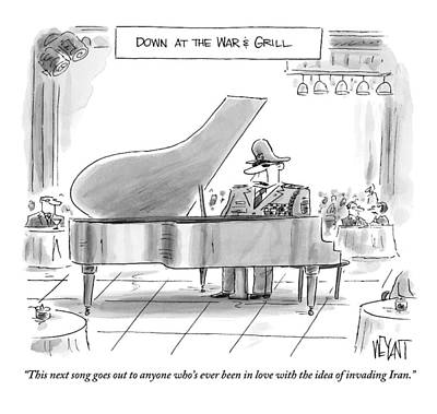 Singer Drawing - A General Plays Piano At A Bar by Christopher Weyant